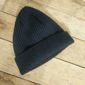 Wool navy ribbed beenie   fisherman's cap